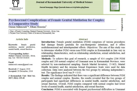 Psychosexual Complications of Female Genital Mutilation for Couples: A Comparative Study in Iran