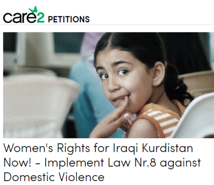 Petition: Women's Rights in Iraqi KurdistanNow!